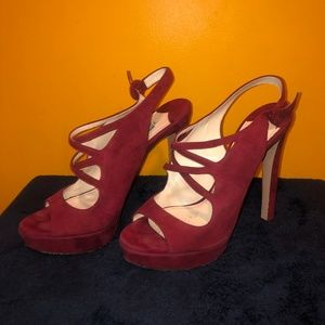 Dark red burgundy suede peep toe Prada heels pumps